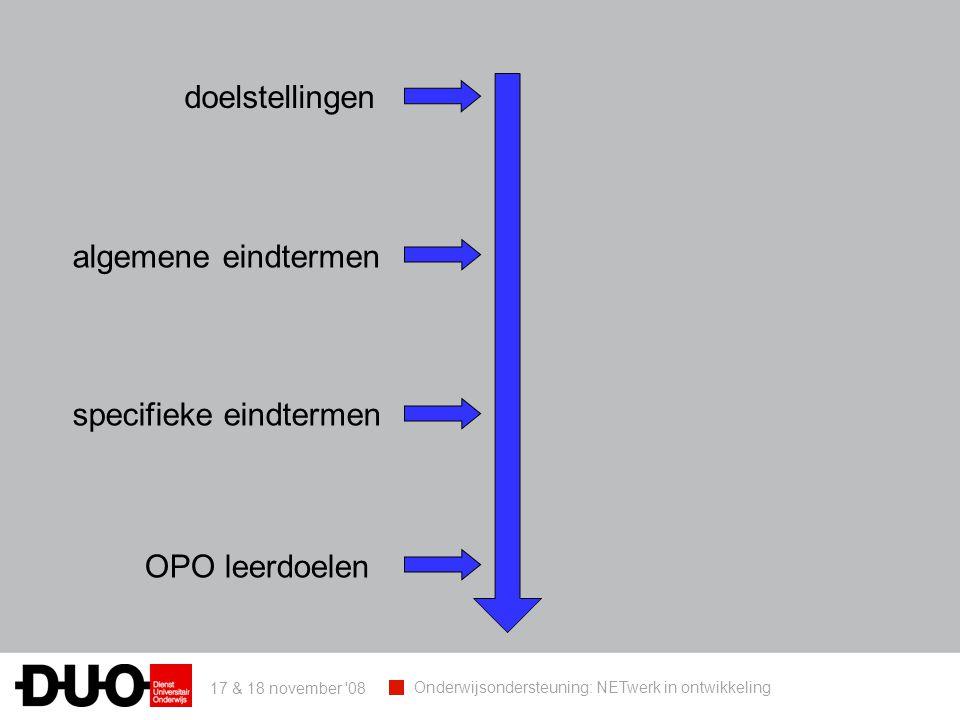 17 & 18 november 08 Onderwijsondersteuning: NETwerk in ontwikkeling doelstellingen algemene eindtermen specifieke eindtermen OPO leerdoelen