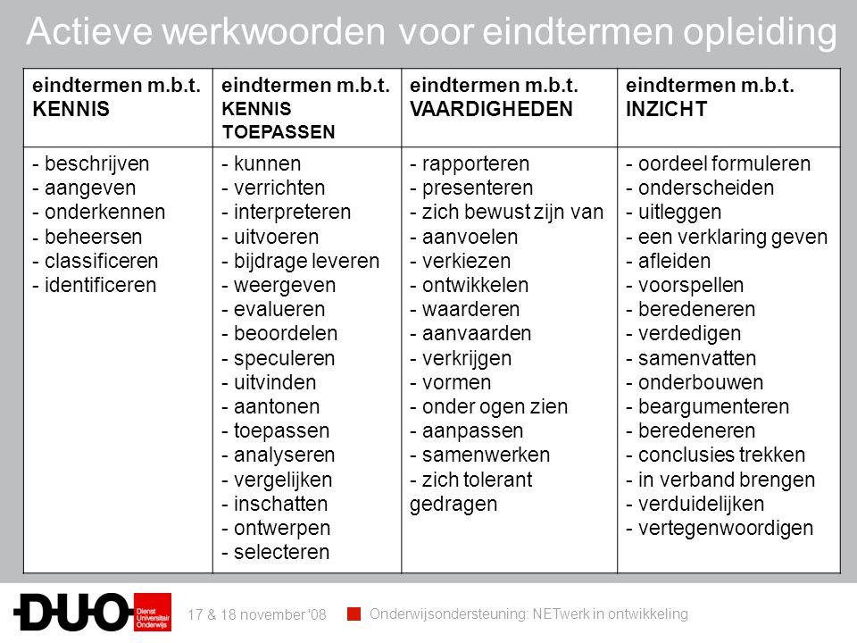 17 & 18 november 08 Onderwijsondersteuning: NETwerk in ontwikkeling eindtermen m.b.t.