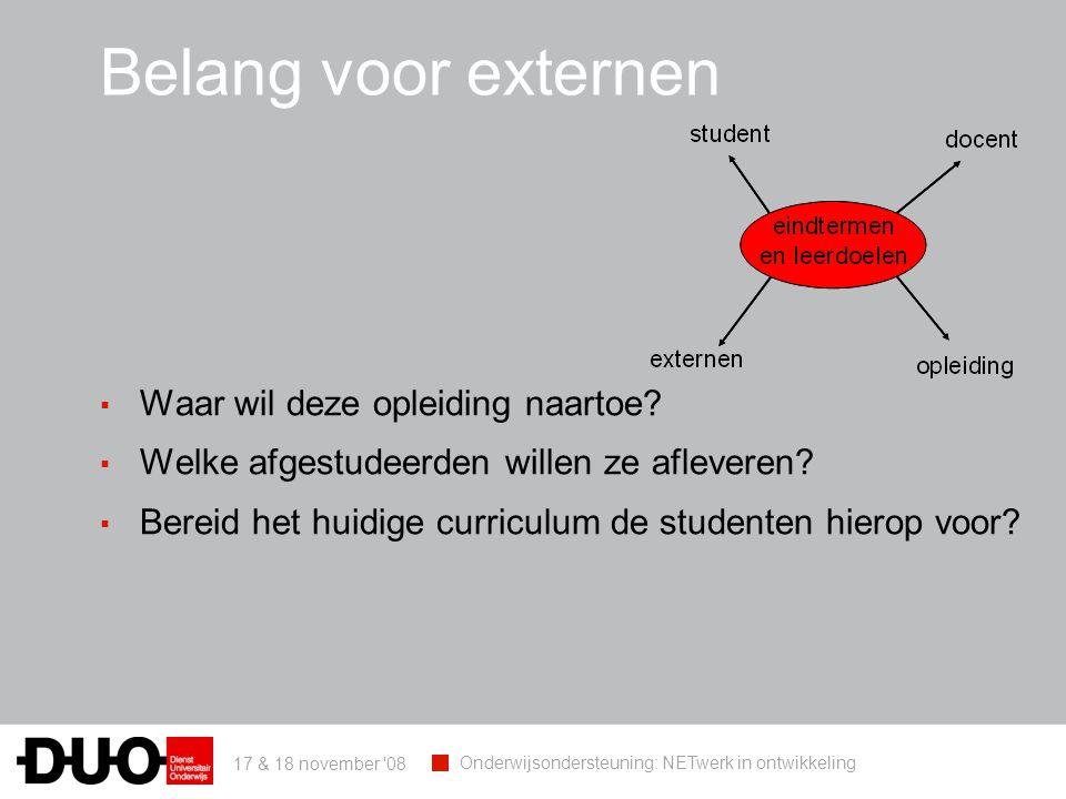 17 & 18 november 08 Onderwijsondersteuning: NETwerk in ontwikkeling Belang voor externen ▪ Waar wil deze opleiding naartoe.