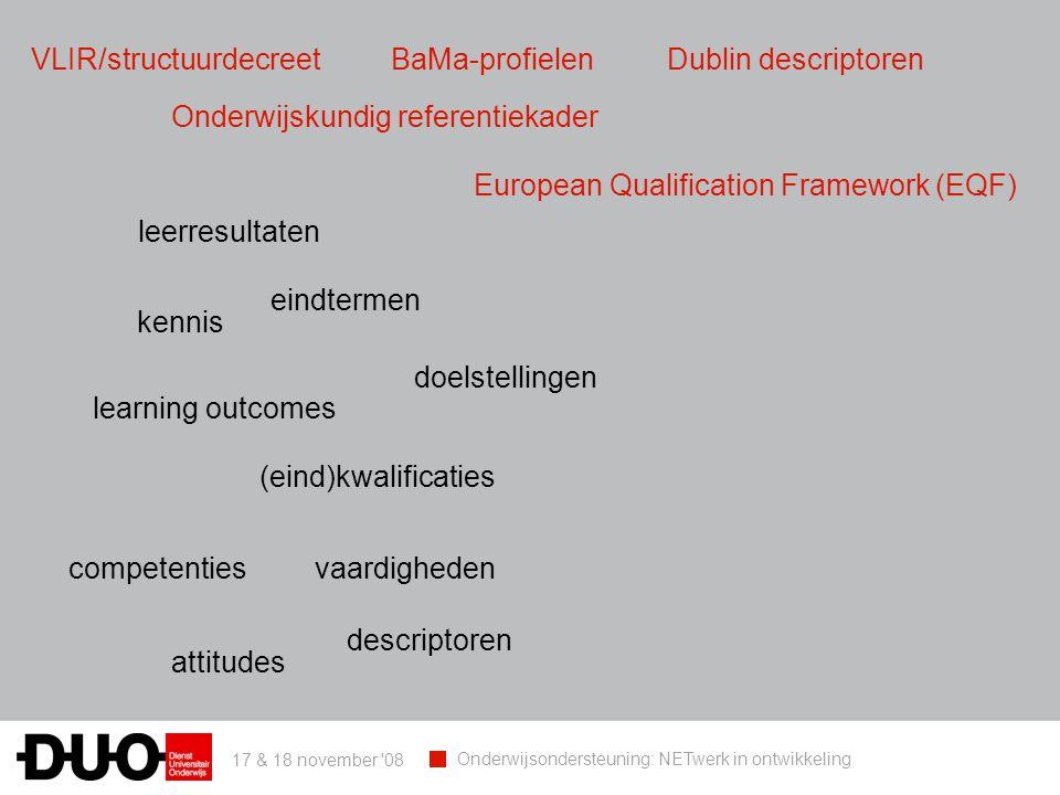 17 & 18 november 08 Onderwijsondersteuning: NETwerk in ontwikkeling eindtermen doelstellingen learning outcomes leerresultaten competenties (eind)kwalificaties kennis vaardigheden attitudes descriptoren VLIR/structuurdecreetBaMa-profielenDublin descriptoren Onderwijskundig referentiekader European Qualification Framework (EQF)