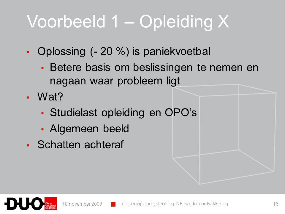 18 november 2008 Onderwijsondersteuning: NETwerk in ontwikkeling 16 Voorbeeld 1 – Opleiding X ▪ Oplossing (- 20 %) is paniekvoetbal ▪ Betere basis om