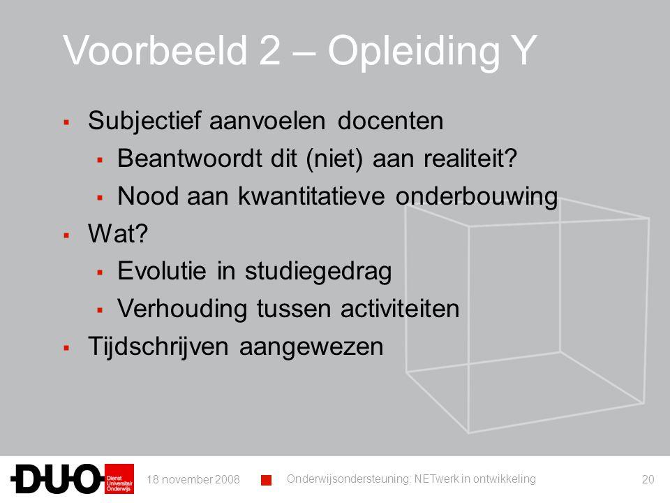 18 november 2008 Onderwijsondersteuning: NETwerk in ontwikkeling 20 Voorbeeld 2 – Opleiding Y ▪ Subjectief aanvoelen docenten ▪ Beantwoordt dit (niet) aan realiteit.