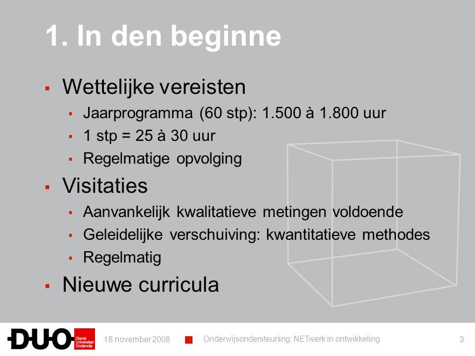 18 november 2008 Onderwijsondersteuning: NETwerk in ontwikkeling 14 Enkele voorbeelden 1.