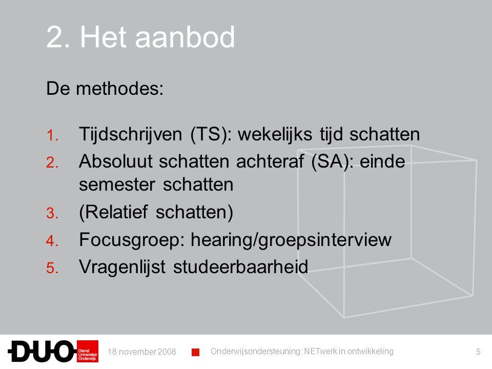 18 november 2008 Onderwijsondersteuning: NETwerk in ontwikkeling 5 2.