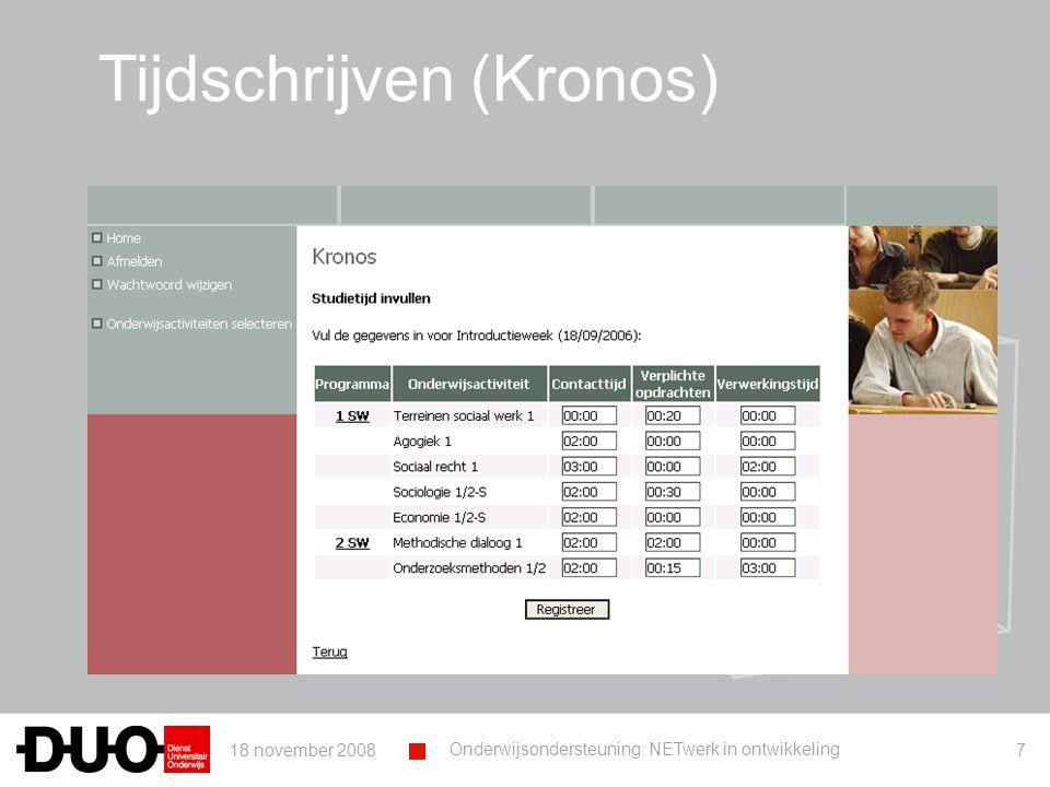 18 november 2008 Onderwijsondersteuning: NETwerk in ontwikkeling 18 Voorbeeld 1 – Opleiding X ▪ Respons online bevragingen: ▪ Grootte van de groep ▪ Timing ▪ Weerstand ▪ Methode ▪ Representativiteit?