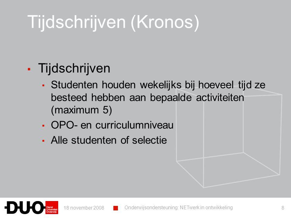 18 november 2008 Onderwijsondersteuning: NETwerk in ontwikkeling 29 Tijdschema ▪ Afname ▪ Opstarten Kronos (tijdschrijven) ▪ In college ▪ Online gedurende ca.