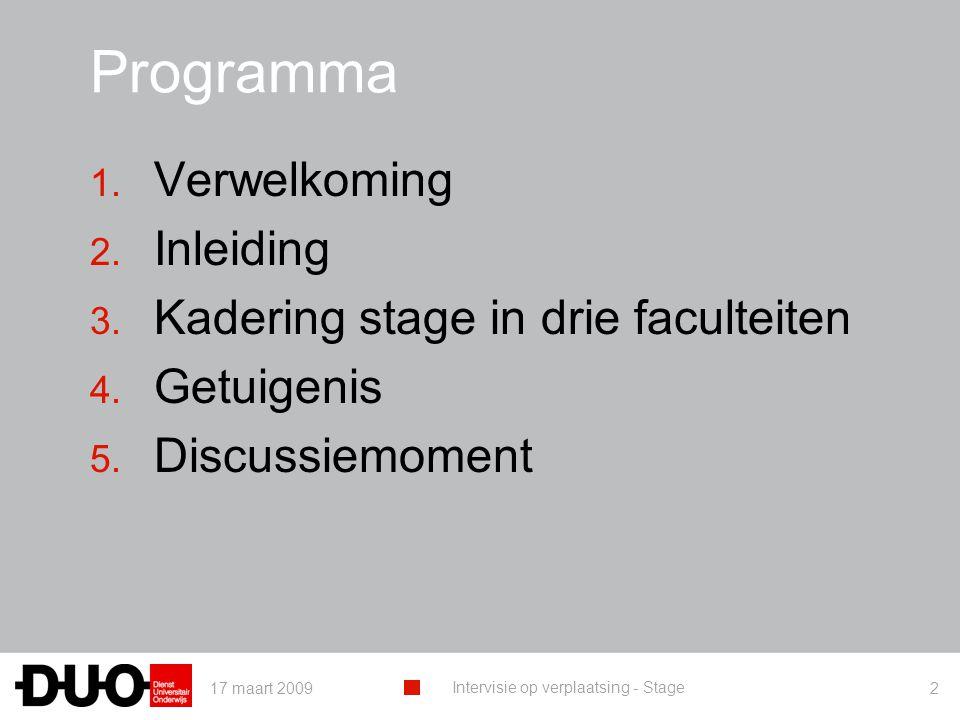 17 maart 2009 Intervisie op verplaatsing - Stage 2 Programma 1. Verwelkoming 2. Inleiding 3. Kadering stage in drie faculteiten 4. Getuigenis 5. Discu