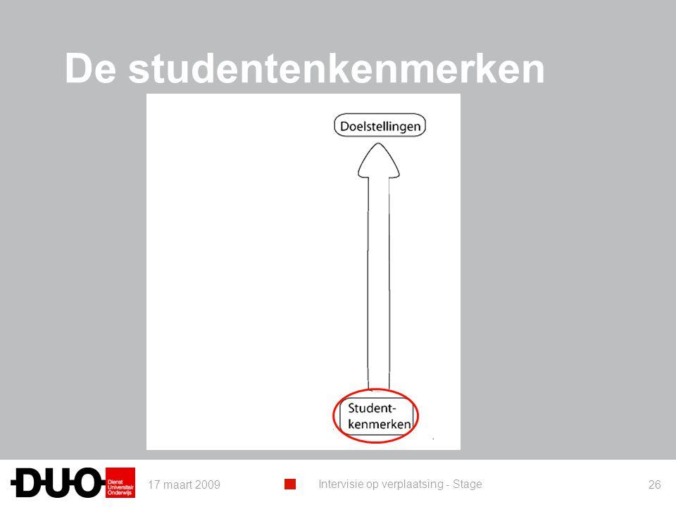 17 maart 2009 Intervisie op verplaatsing - Stage 26 De studentenkenmerken