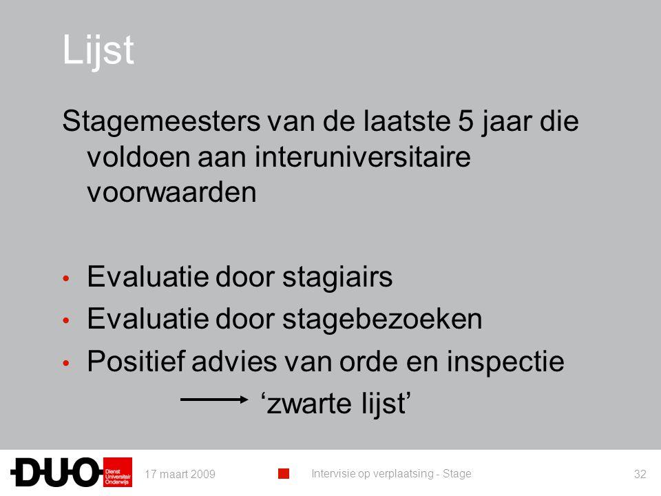 17 maart 2009 Intervisie op verplaatsing - Stage 32 Lijst Stagemeesters van de laatste 5 jaar die voldoen aan interuniversitaire voorwaarden Evaluatie door stagiairs Evaluatie door stagebezoeken Positief advies van orde en inspectie 'zwarte lijst'