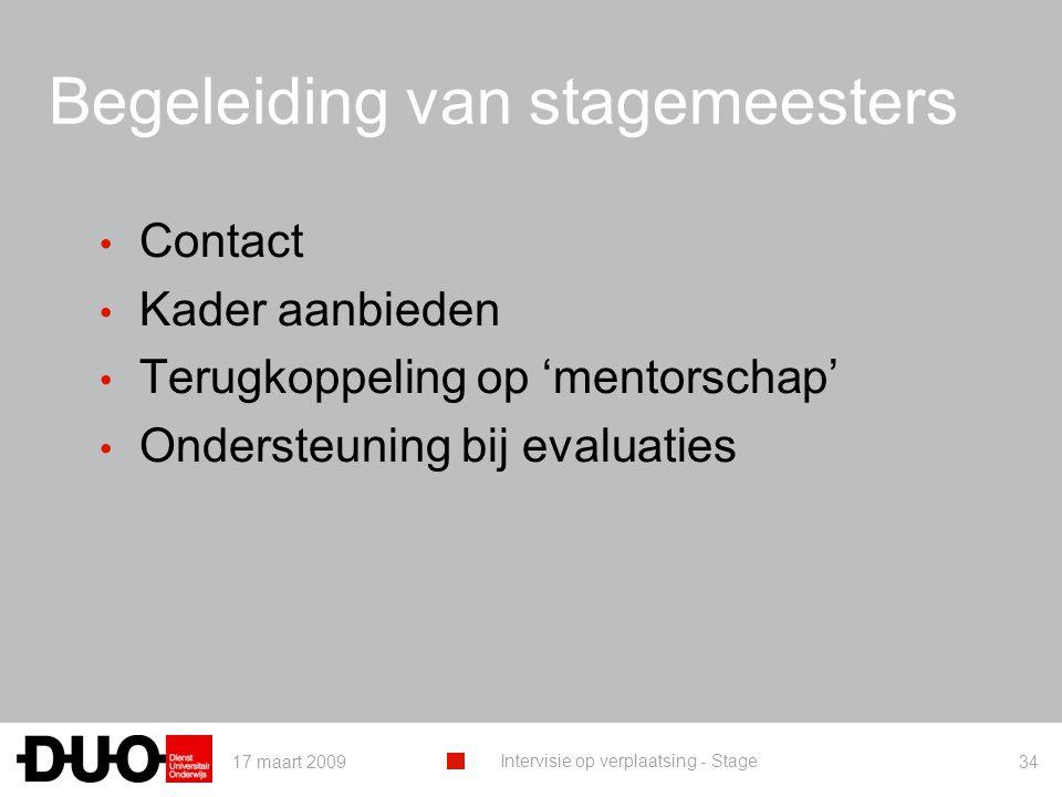 17 maart 2009 Intervisie op verplaatsing - Stage 34 Begeleiding van stagemeesters Contact Kader aanbieden Terugkoppeling op 'mentorschap' Ondersteuning bij evaluaties