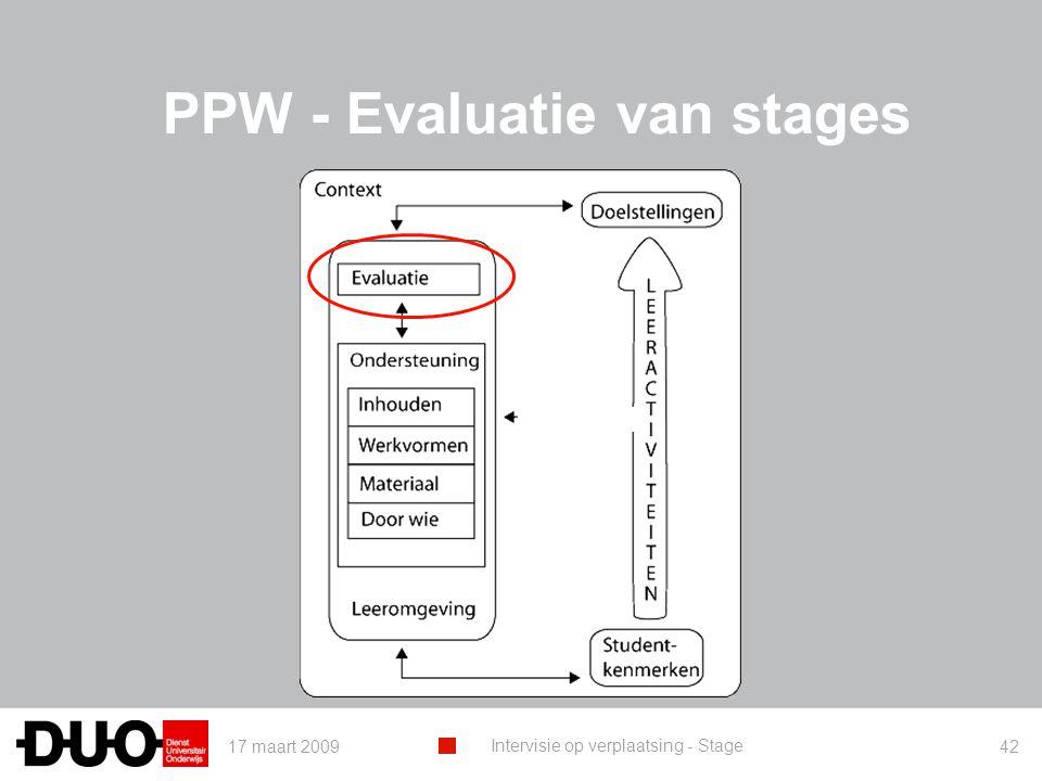 17 maart 2009 Intervisie op verplaatsing - Stage 42 PPW - Evaluatie van stages