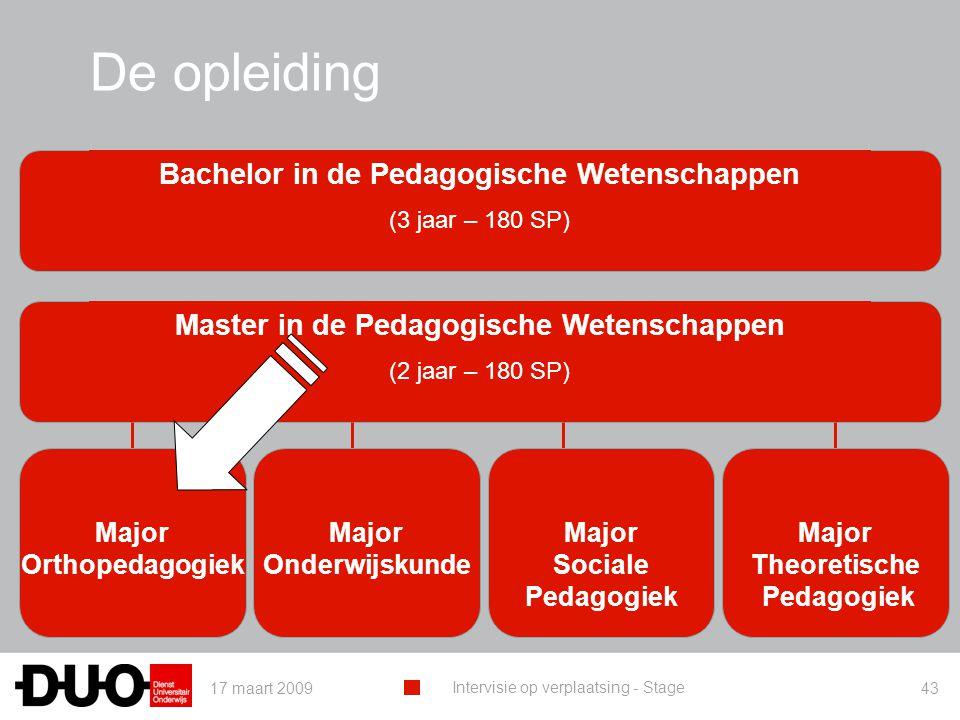 17 maart 2009 Intervisie op verplaatsing - Stage 43 De opleiding Master in de Pedagogische Wetenschappen (2 jaar – 180 SP) Major Orthopedagogiek Major