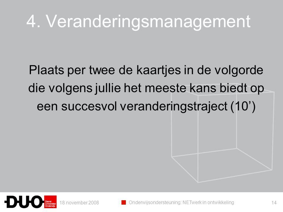 18 november 2008 Onderwijsondersteuning: NETwerk in ontwikkeling 14 4. Veranderingsmanagement Plaats per twee de kaartjes in de volgorde die volgens j