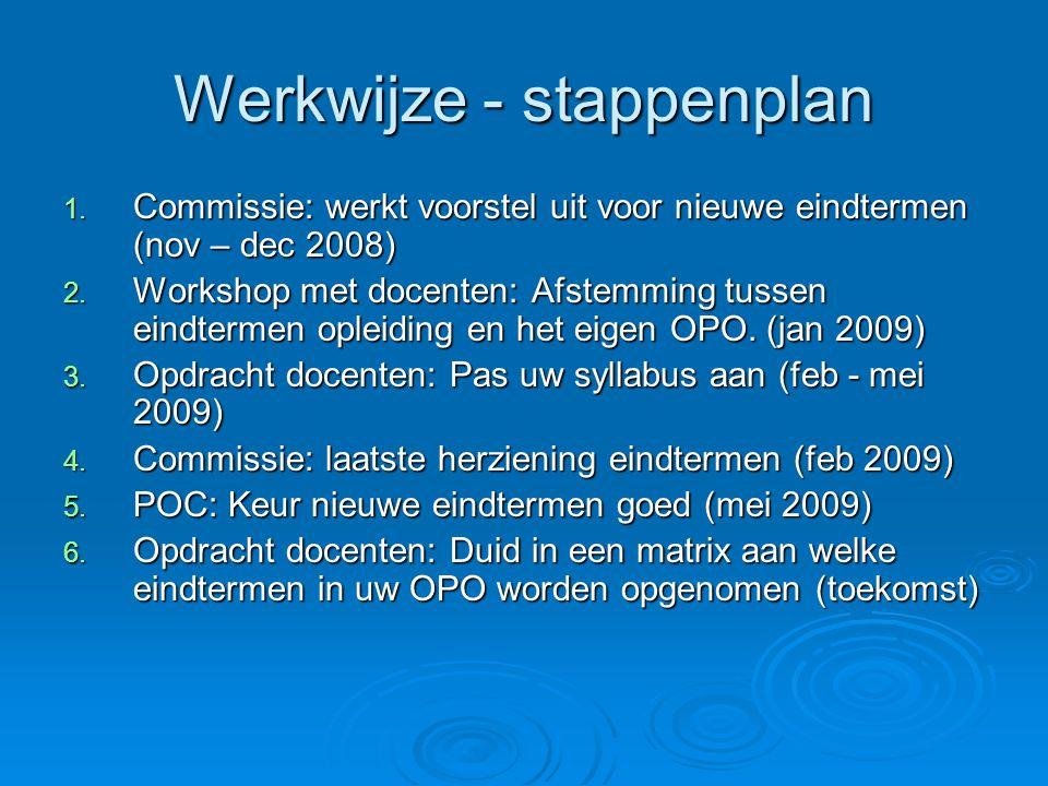 Werkwijze - stappenplan 1. Commissie: werkt voorstel uit voor nieuwe eindtermen (nov – dec 2008) 2.