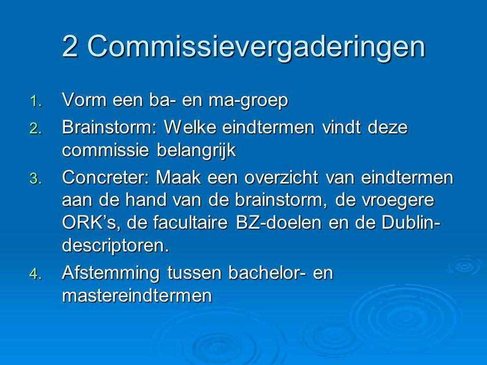 2 Commissievergaderingen 1. Vorm een ba- en ma-groep 2.