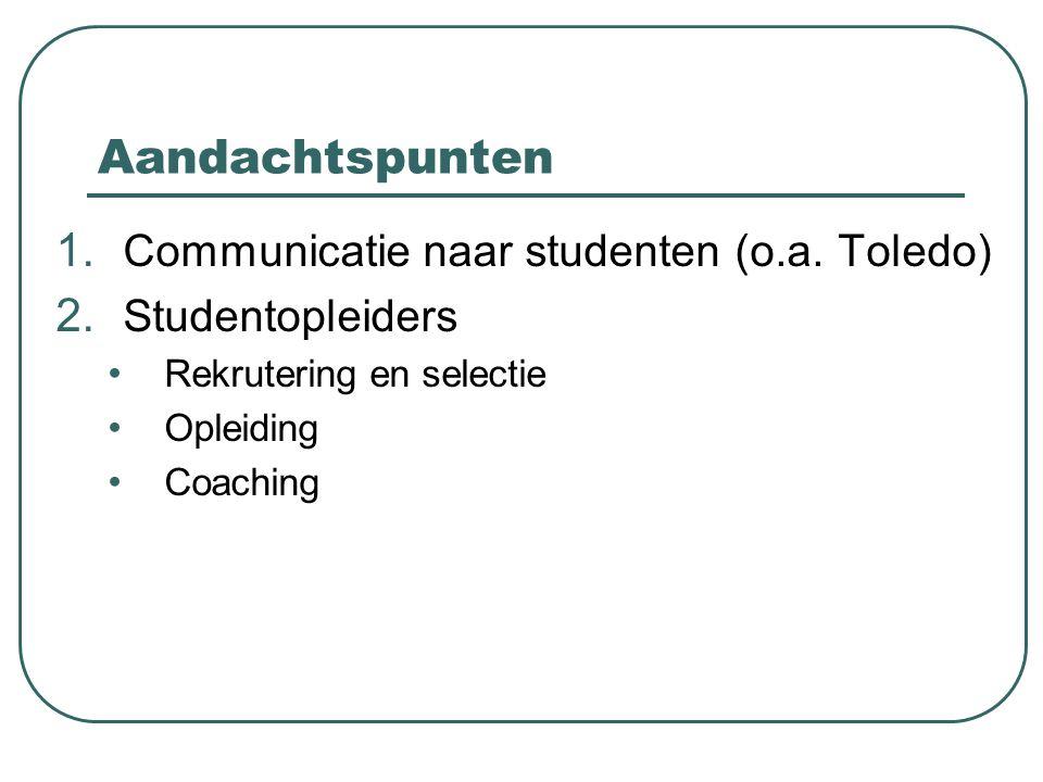 Aandachtspunten 1. Communicatie naar studenten (o.a. Toledo) 2. Studentopleiders Rekrutering en selectie Opleiding Coaching