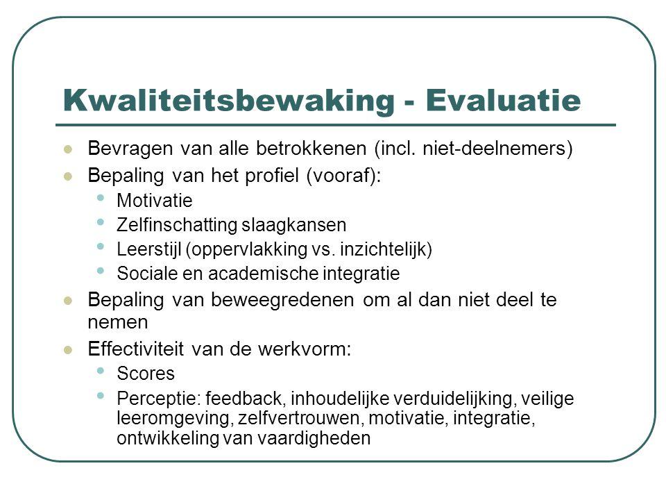 Kwaliteitsbewaking - Evaluatie Bevragen van alle betrokkenen (incl. niet-deelnemers) Bepaling van het profiel (vooraf): Motivatie Zelfinschatting slaa