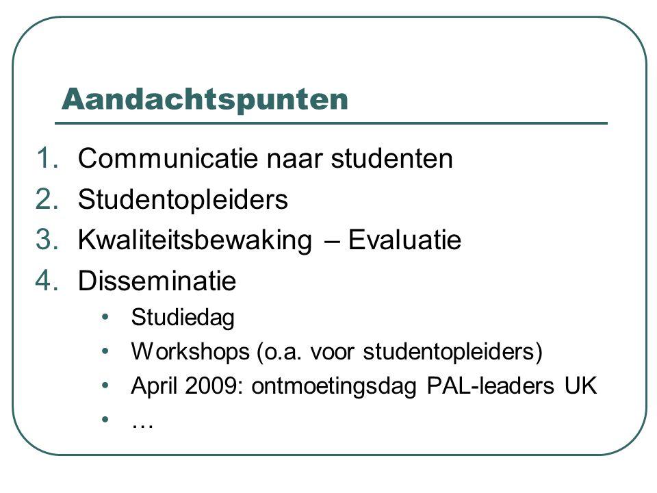 Aandachtspunten 1. Communicatie naar studenten 2. Studentopleiders 3. Kwaliteitsbewaking – Evaluatie 4. Disseminatie Studiedag Workshops (o.a. voor st