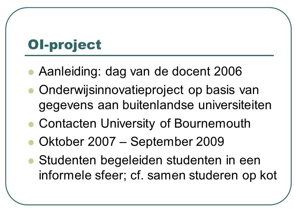 OI-project Aanleiding: dag van de docent 2006 Onderwijsinnovatieproject op basis van gegevens aan buitenlandse universiteiten Contacten University of