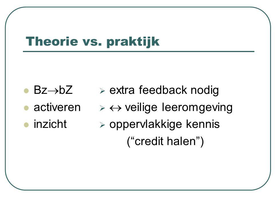 """Theorie vs. praktijk  extra feedback nodig   veilige leeromgeving  oppervlakkige kennis (""""credit halen"""") Bz  bZ activeren inzicht"""