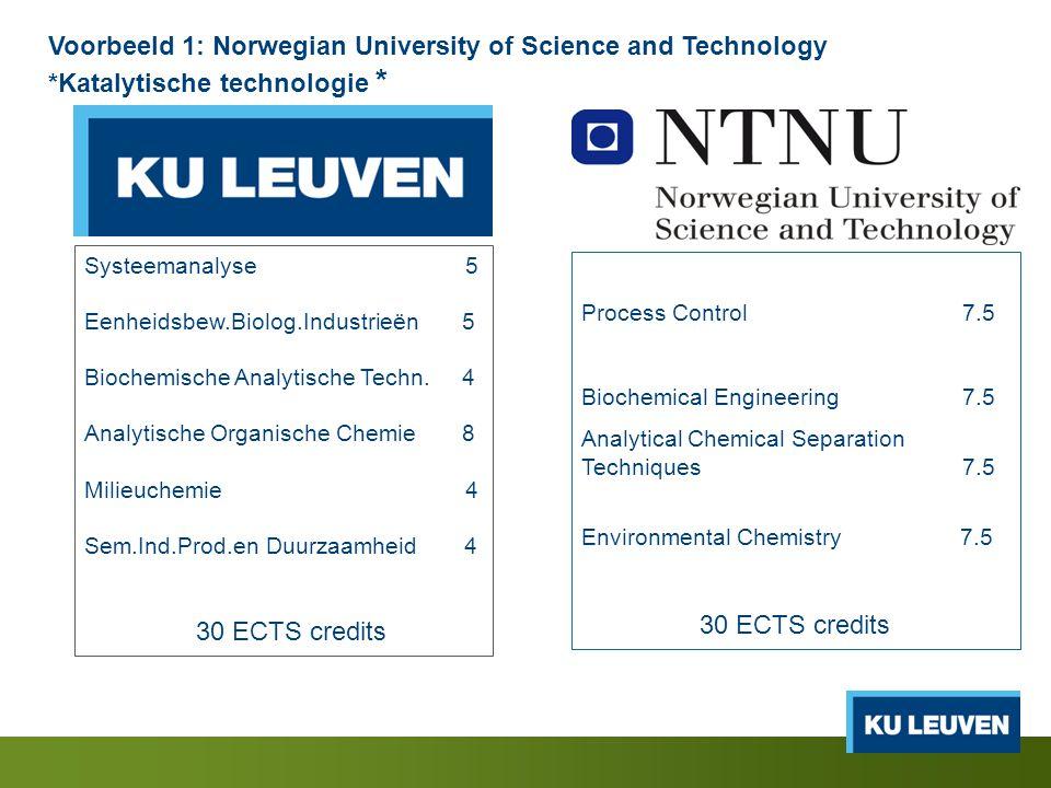 Voorbeeld 1: Norwegian University of Science and Technology *Katalytische technologie * Systeemanalyse 5 Eenheidsbew.Biolog.Industrieën 5 Biochemische Analytische Techn.