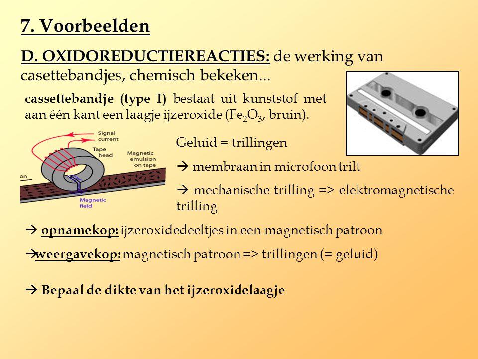 7. Voorbeelden D. OXIDOREDUCTIEREACTIES: D. OXIDOREDUCTIEREACTIES: de werking van casettebandjes, chemisch bekeken... cassettebandje (type I) bestaat