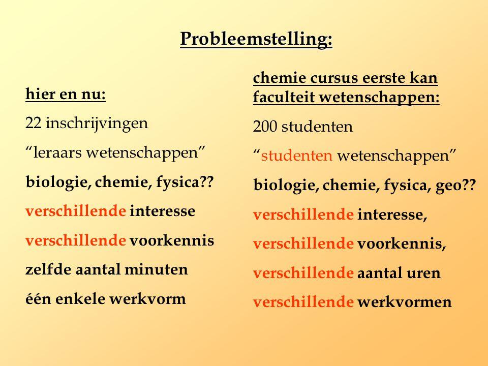 """hier en nu: 22 inschrijvingen """"leraars wetenschappen"""" biologie, chemie, fysica?? verschillende interesse verschillende voorkennis zelfde aantal minute"""