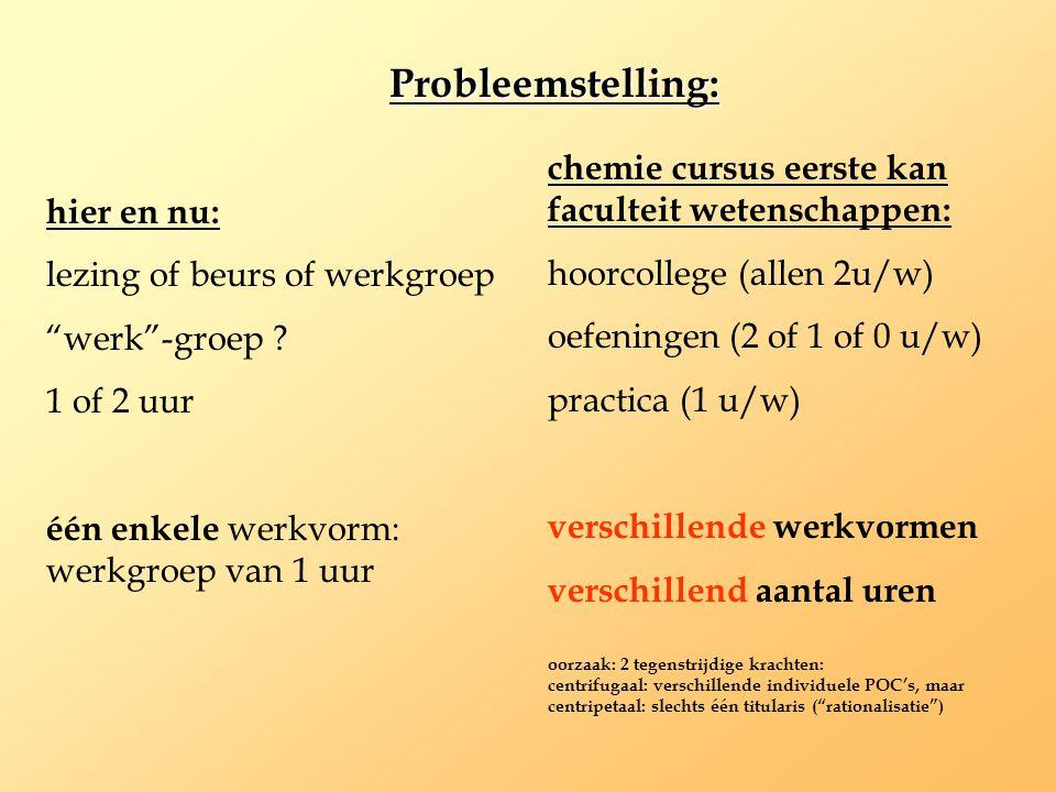 """Probleemstelling: hier en nu: lezing of beurs of werkgroep """"werk""""-groep ? 1 of 2 uur één enkele werkvorm: werkgroep van 1 uur chemie cursus eerste kan"""