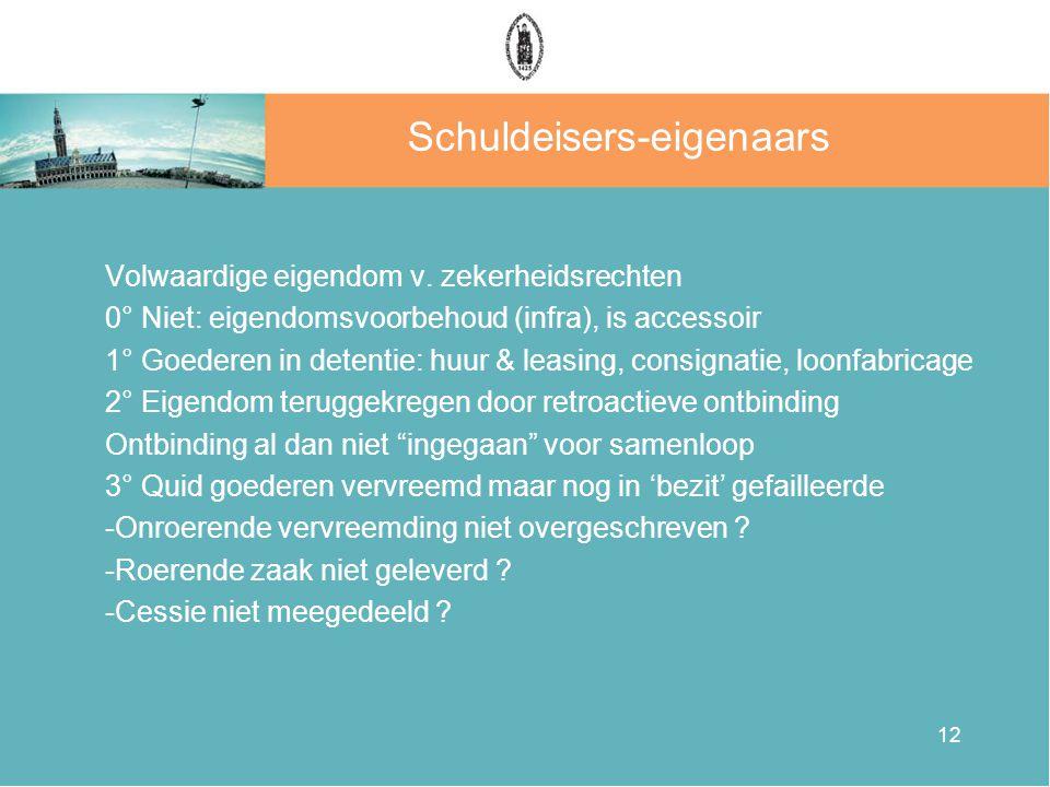 12 Schuldeisers-eigenaars Volwaardige eigendom v.