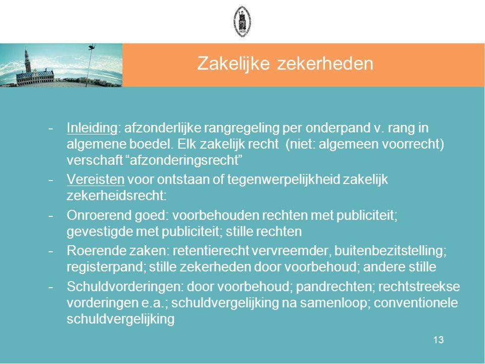 13 Zakelijke zekerheden -Inleiding: afzonderlijke rangregeling per onderpand v.