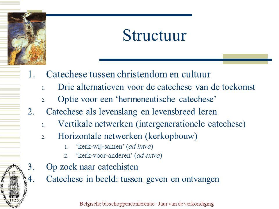 Belgische bisschoppenconferentie - Jaar van de verkondiging Structuur 1.Catechese tussen christendom en cultuur 1.