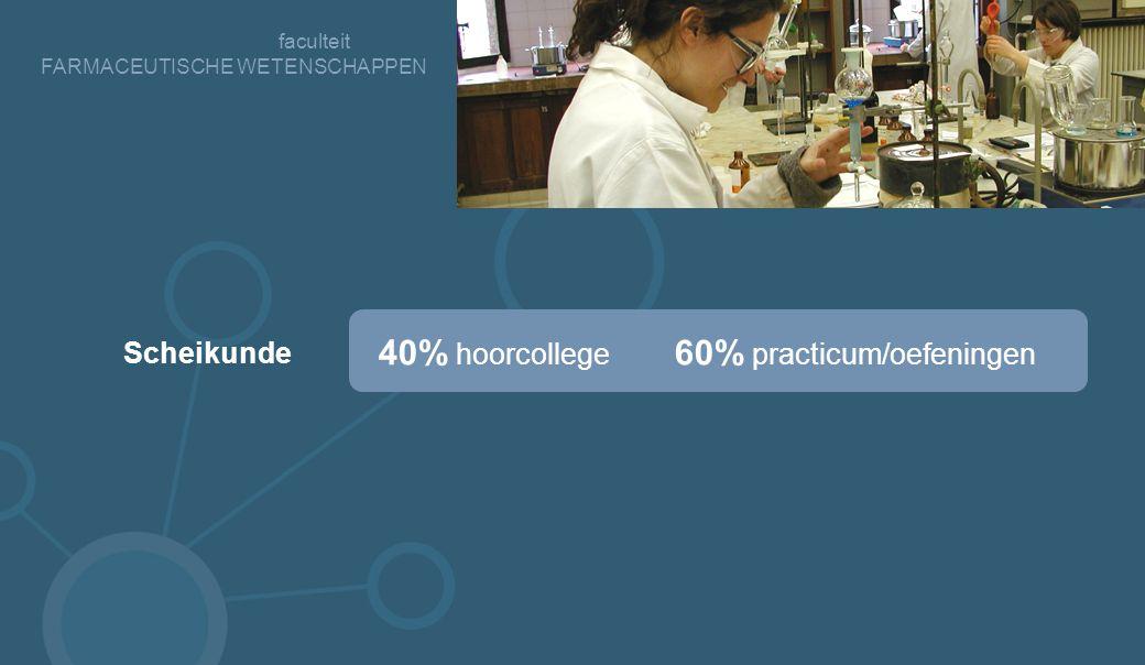 faculteit FARMACEUTISCHE WETENSCHAPPEN 40% hoorcollege 60% practicum/oefeningen Scheikunde
