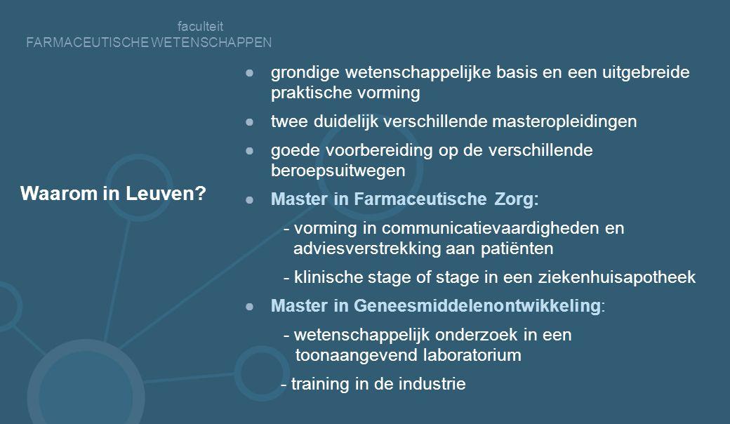 faculteit FARMACEUTISCHE WETENSCHAPPEN Waarom in Leuven.