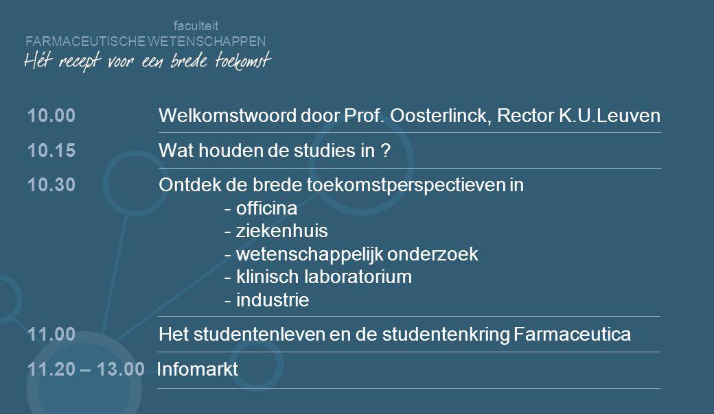 faculteit FARMACEUTISCHE WETENSCHAPPEN 10.00 Welkomstwoord door Prof.