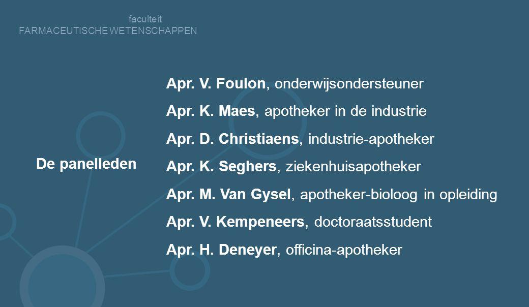 faculteit FARMACEUTISCHE WETENSCHAPPEN Apr.V. Foulon, onderwijsondersteuner Apr.