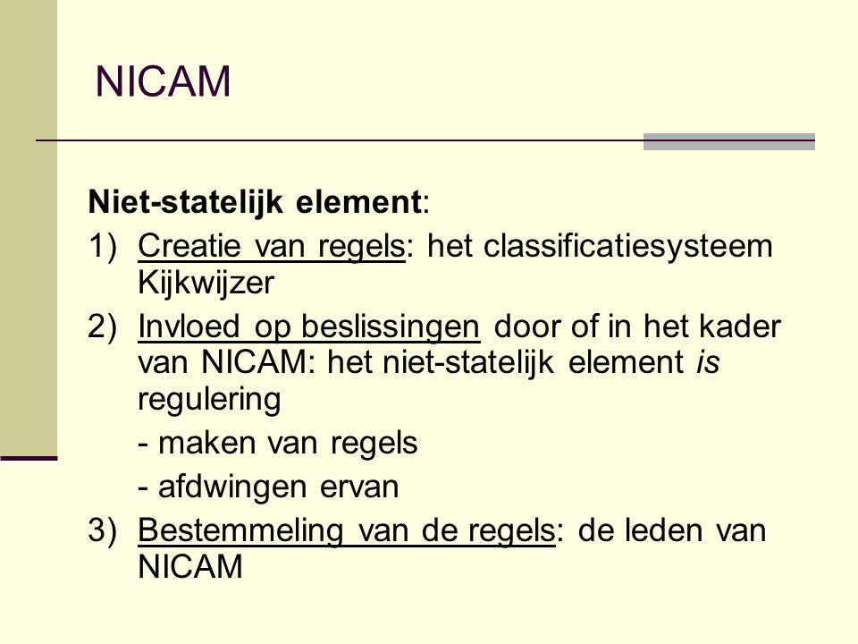 NICAM Niet-statelijk element: 1)Creatie van regels: het classificatiesysteem Kijkwijzer 2)Invloed op beslissingen door of in het kader van NICAM: het niet-statelijk element is regulering - maken van regels - afdwingen ervan 3)Bestemmeling van de regels: de leden van NICAM