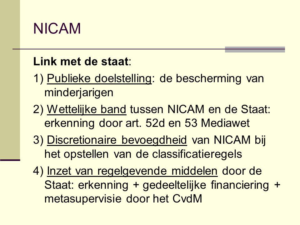 NICAM Link met de staat: 1) Publieke doelstelling: de bescherming van minderjarigen 2) Wettelijke band tussen NICAM en de Staat: erkenning door art. 5