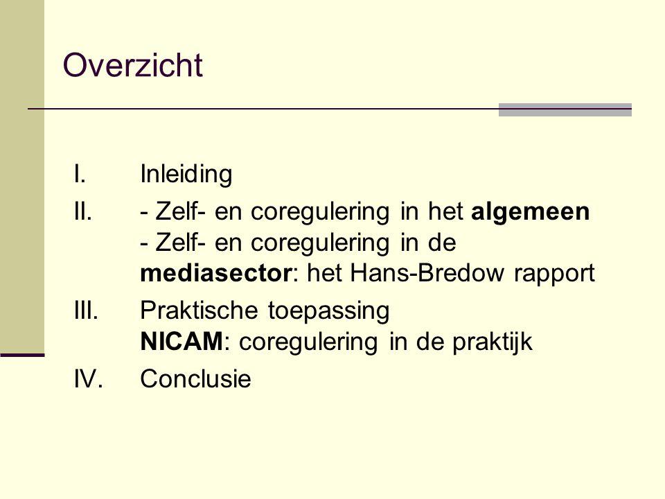 Overzicht I.Inleiding II.- Zelf- en coregulering in het algemeen - Zelf- en coregulering in de mediasector: het Hans-Bredow rapport III.Praktische toe
