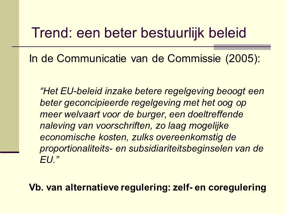 Trend: een beter bestuurlijk beleid In de Communicatie van de Commissie (2005): Het EU-beleid inzake betere regelgeving beoogt een beter geconcipieerde regelgeving met het oog op meer welvaart voor de burger, een doeltreffende naleving van voorschriften, zo laag mogelijke economische kosten, zulks overeenkomstig de proportionaliteits- en subsidiariteitsbeginselen van de EU. Vb.
