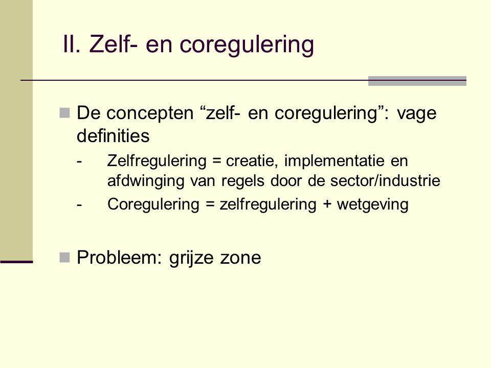"""II. Zelf- en coregulering De concepten """"zelf- en coregulering"""": vage definities -Zelfregulering = creatie, implementatie en afdwinging van regels door"""
