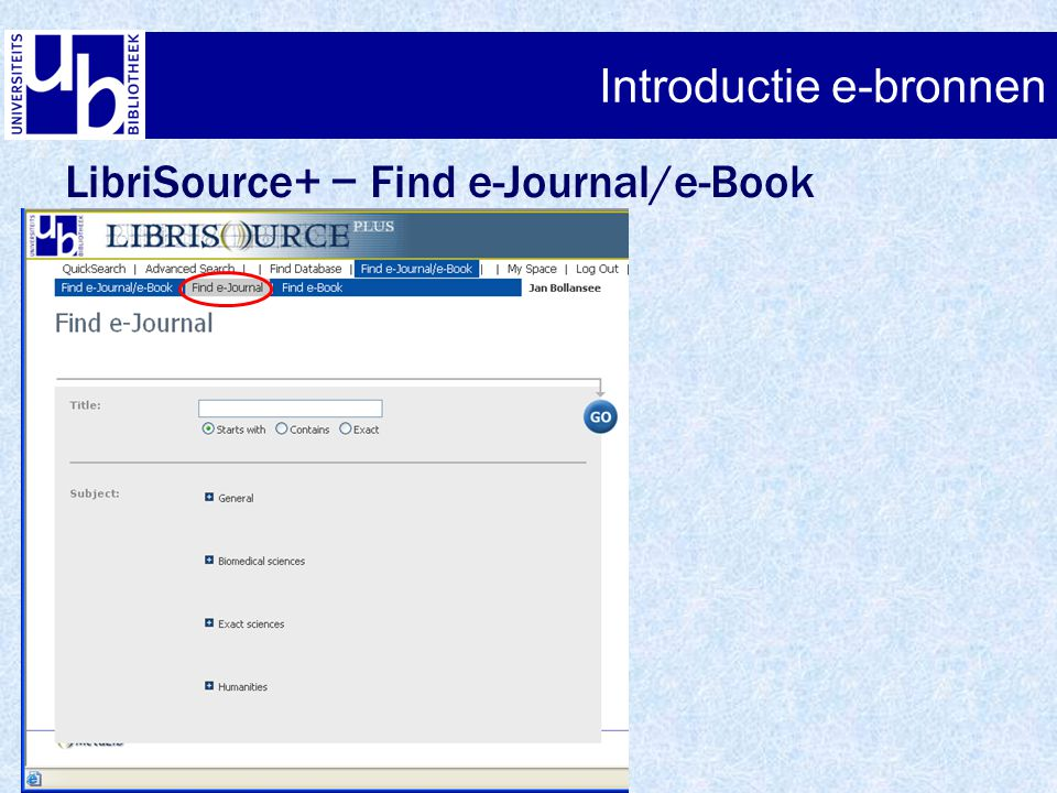LibriSource+ − Find e-Journal/e-Book Introductie e-bronnen