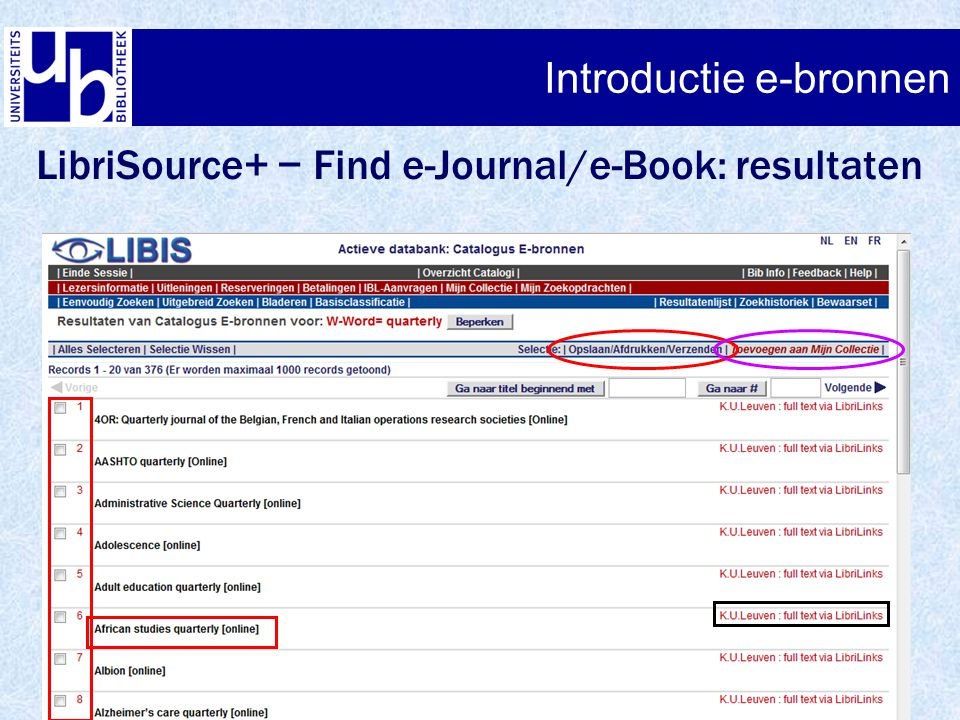 Introductie e-bronnen LibriSource+ − Find e-Journal/e-Book: resultaten Introductie e-bronnen