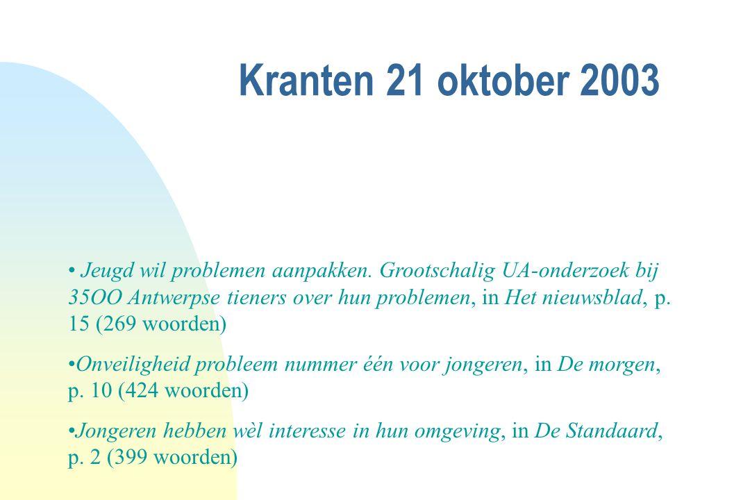 Kranten 21 oktober 2003 Jeugd wil problemen aanpakken. Grootschalig UA-onderzoek bij 35OO Antwerpse tieners over hun problemen, in Het nieuwsblad, p.