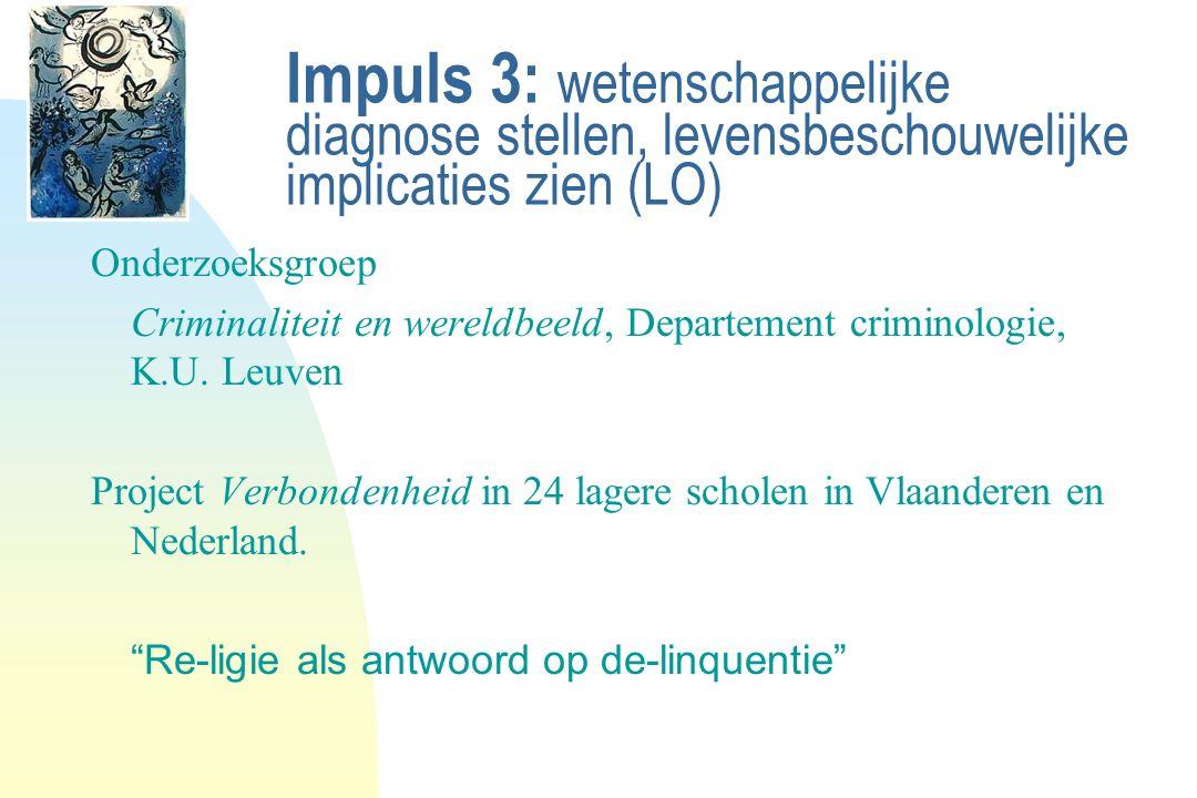 Impuls 3: wetenschappelijke diagnose stellen, levensbeschouwelijke implicaties zien (LO) Onderzoeksgroep Criminaliteit en wereldbeeld, Departement cri