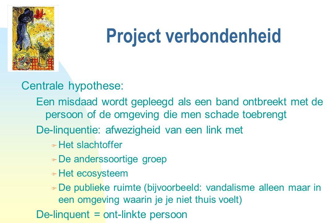 Project verbondenheid Centrale hypothese: Een misdaad wordt gepleegd als een band ontbreekt met de persoon of de omgeving die men schade toebrengt De-