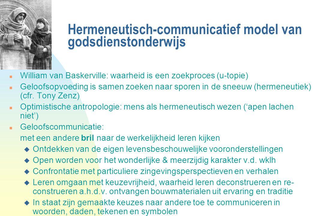 Hermeneutisch-communicatief model van godsdienstonderwijs n William van Baskerville: waarheid is een zoekproces (u-topie) n Geloofsopvoeding is samen