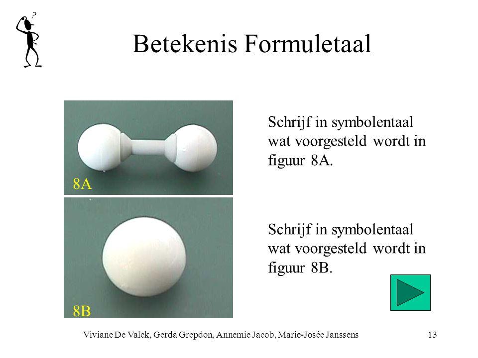 Betekenis Formuletaal Viviane De Valck, Gerda Grepdon, Annemie Jacob, Marie-Josée Janssens13 8A 8B Schrijf in symbolentaal wat voorgesteld wordt in figuur 8B.