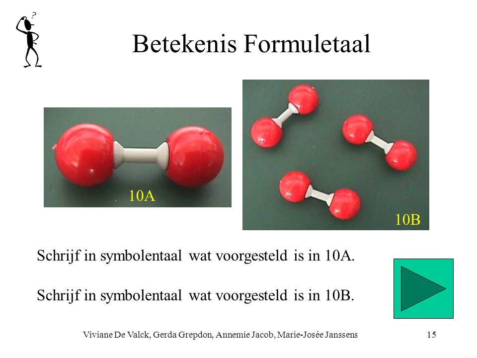 Betekenis Formuletaal Viviane De Valck, Gerda Grepdon, Annemie Jacob, Marie-Josée Janssens15 Schrijf in symbolentaal wat voorgesteld is in 10A. Schrij
