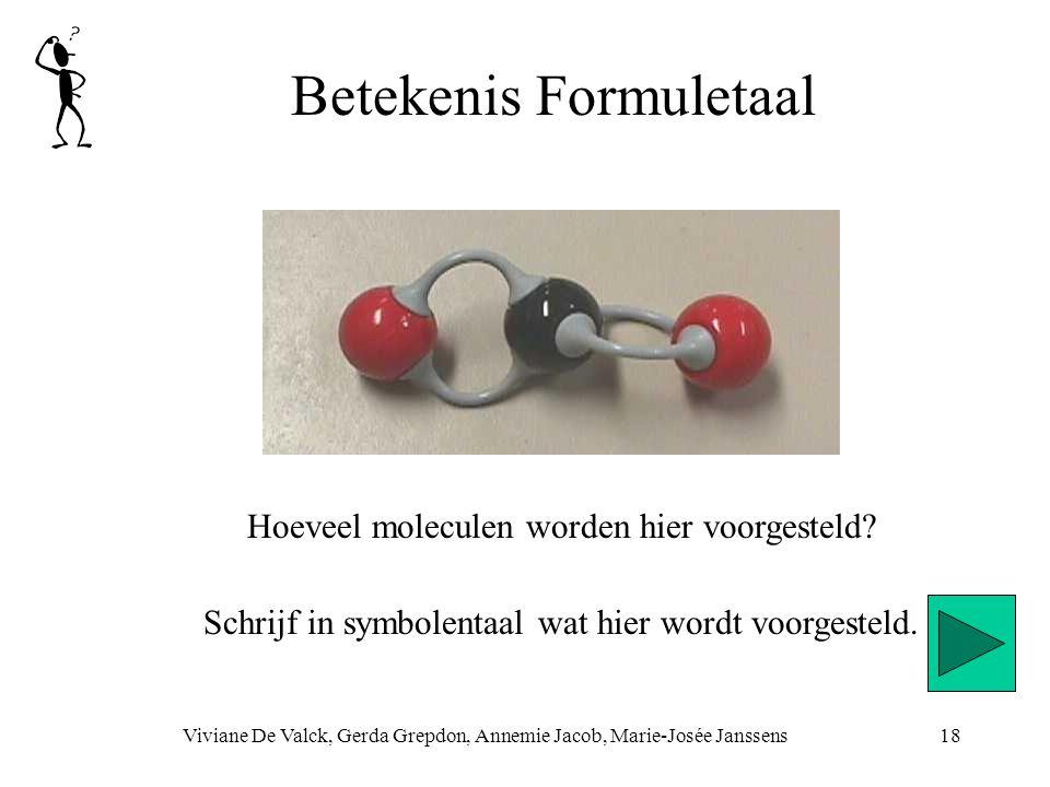 Betekenis Formuletaal Viviane De Valck, Gerda Grepdon, Annemie Jacob, Marie-Josée Janssens18 Hoeveel moleculen worden hier voorgesteld? Schrijf in sym