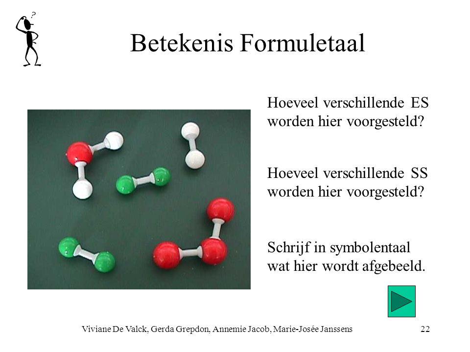 Betekenis Formuletaal Viviane De Valck, Gerda Grepdon, Annemie Jacob, Marie-Josée Janssens22 Hoeveel verschillende SS worden hier voorgesteld.